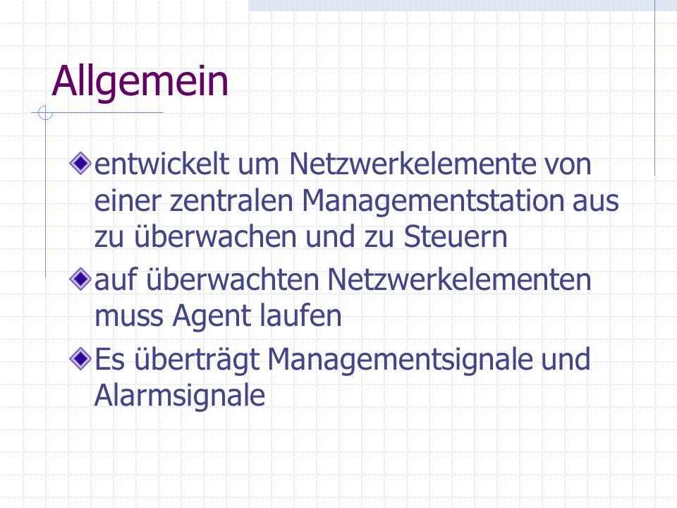 Allgemein entwickelt um Netzwerkelemente von einer zentralen Managementstation aus zu überwachen und zu Steuern.