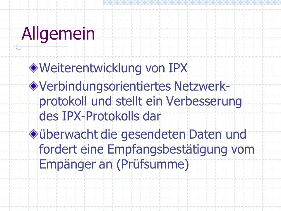 Allgemein Weiterentwicklung von IPX