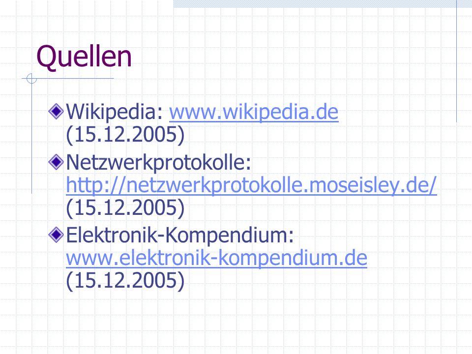 Quellen Wikipedia: www.wikipedia.de (15.12.2005)