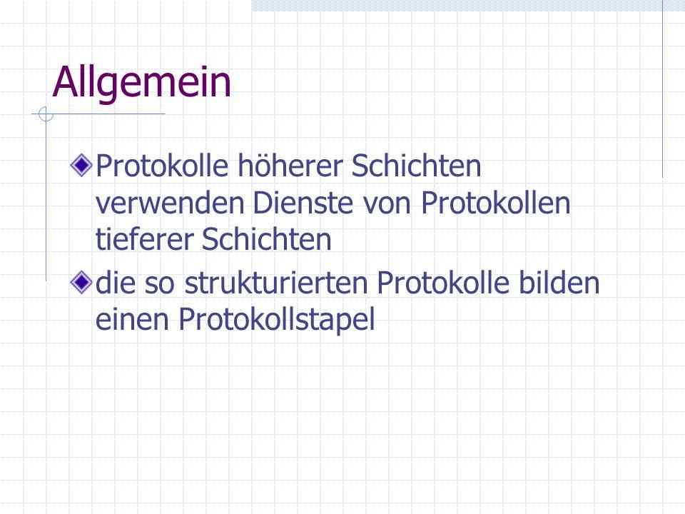 Allgemein Protokolle höherer Schichten verwenden Dienste von Protokollen tieferer Schichten.