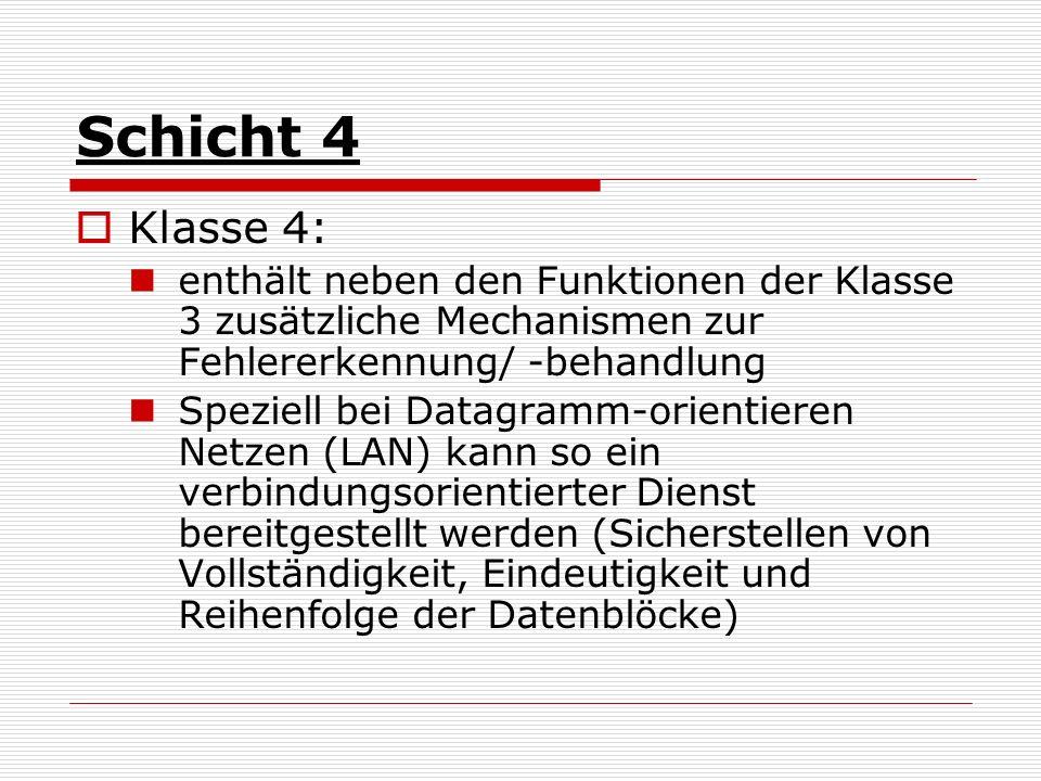 Schicht 4 Klasse 4: enthält neben den Funktionen der Klasse 3 zusätzliche Mechanismen zur Fehlererkennung/ -behandlung.