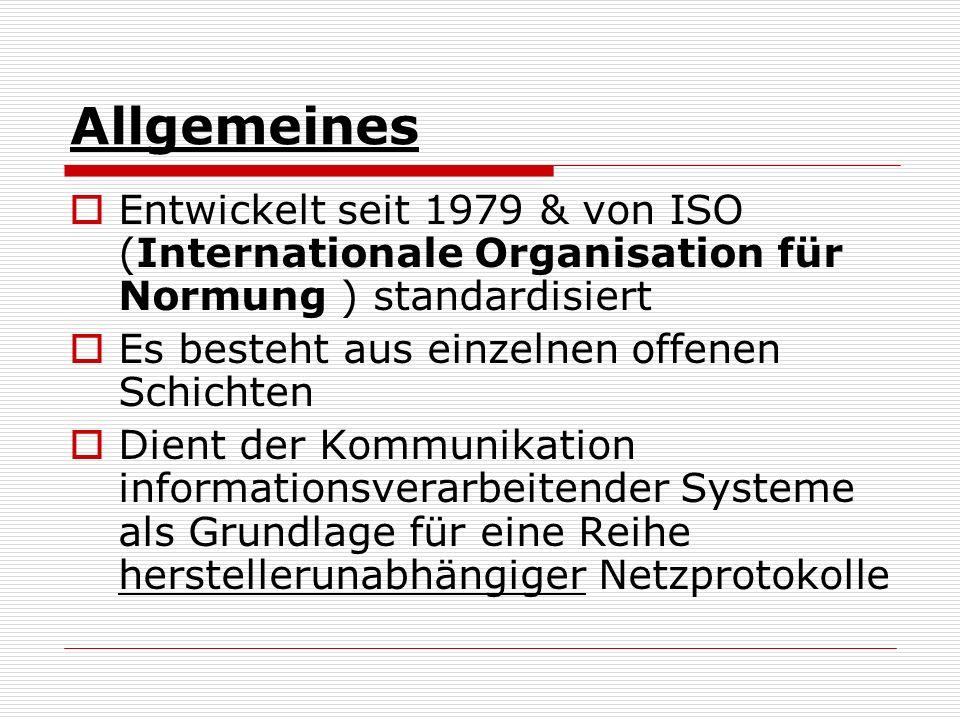 Allgemeines Entwickelt seit 1979 & von ISO (Internationale Organisation für Normung ) standardisiert.