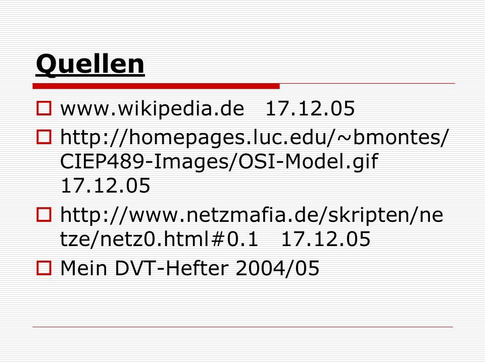 Quellen www.wikipedia.de 17.12.05