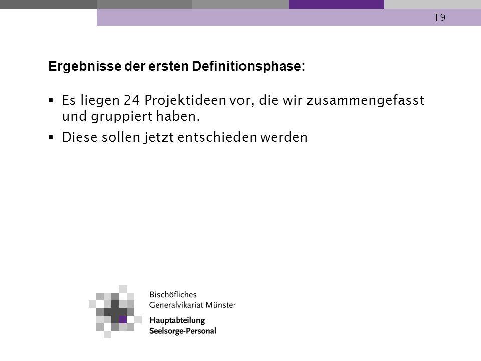 Ergebnisse der ersten Definitionsphase: