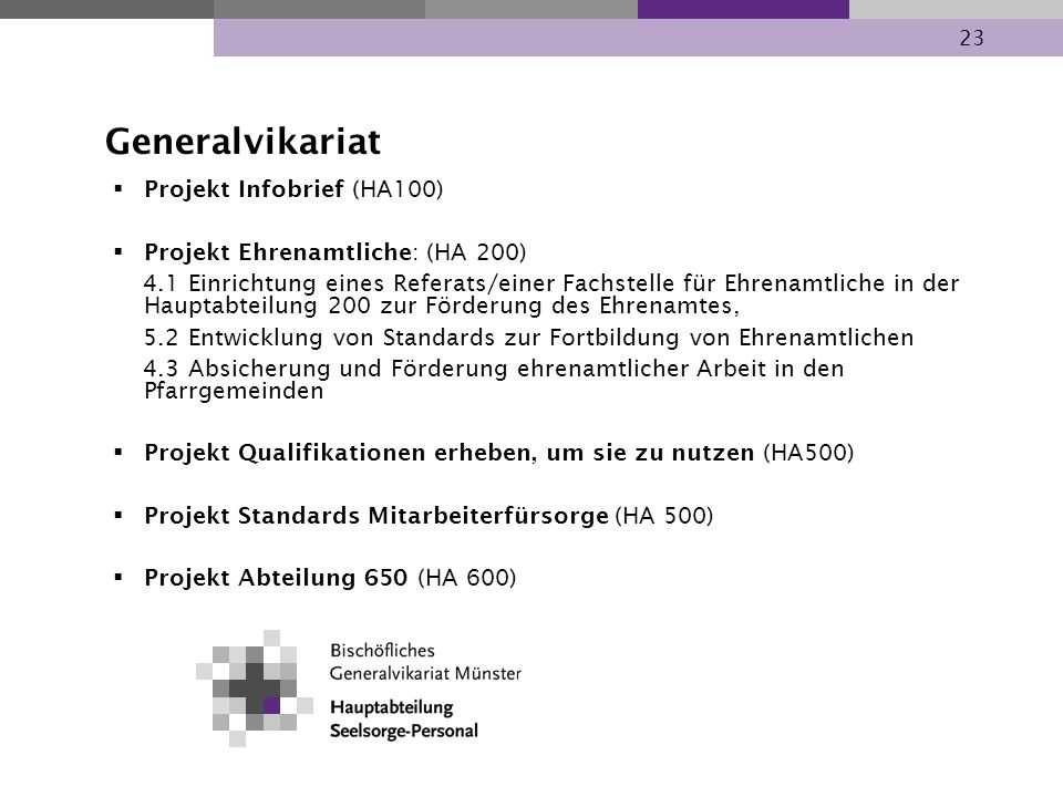 Generalvikariat Projekt Infobrief (HA100)