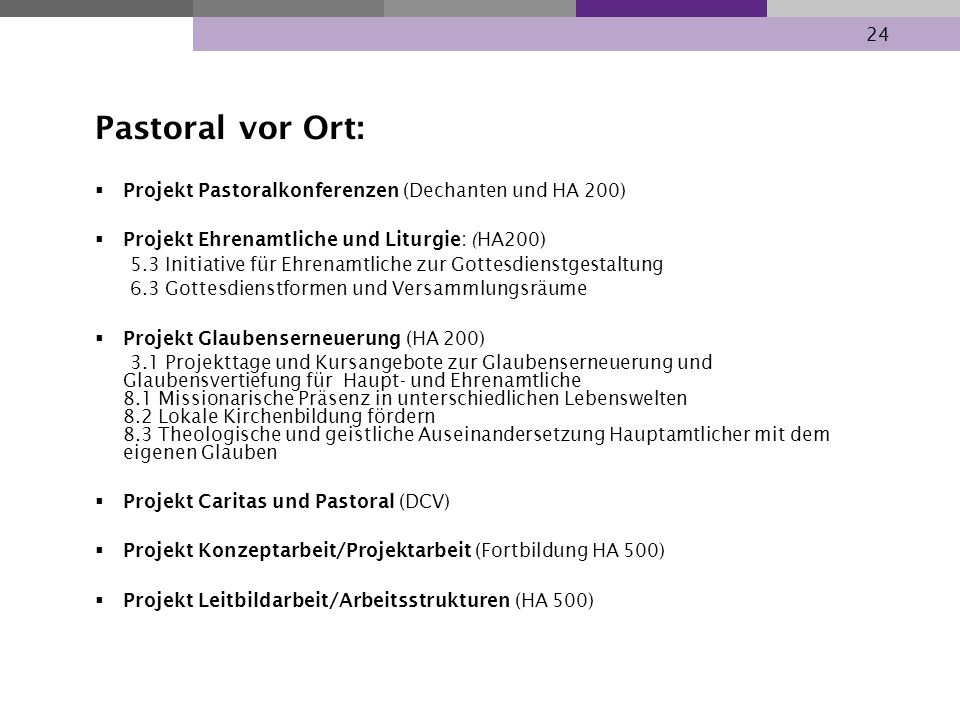 Pastoral vor Ort: Projekt Pastoralkonferenzen (Dechanten und HA 200)