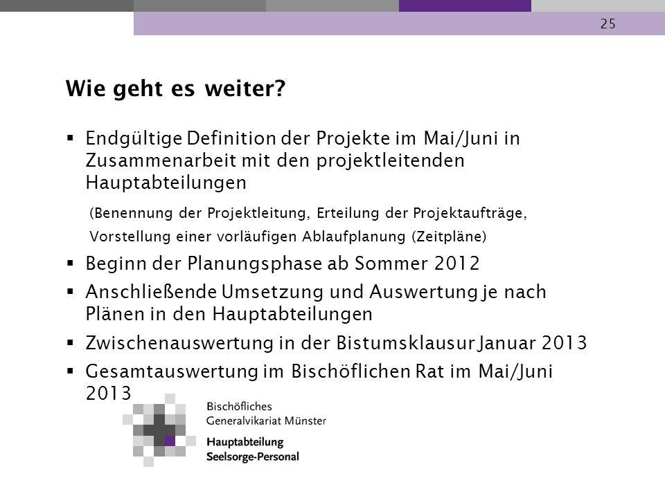 Wie geht es weiter Endgültige Definition der Projekte im Mai/Juni in Zusammenarbeit mit den projektleitenden Hauptabteilungen.