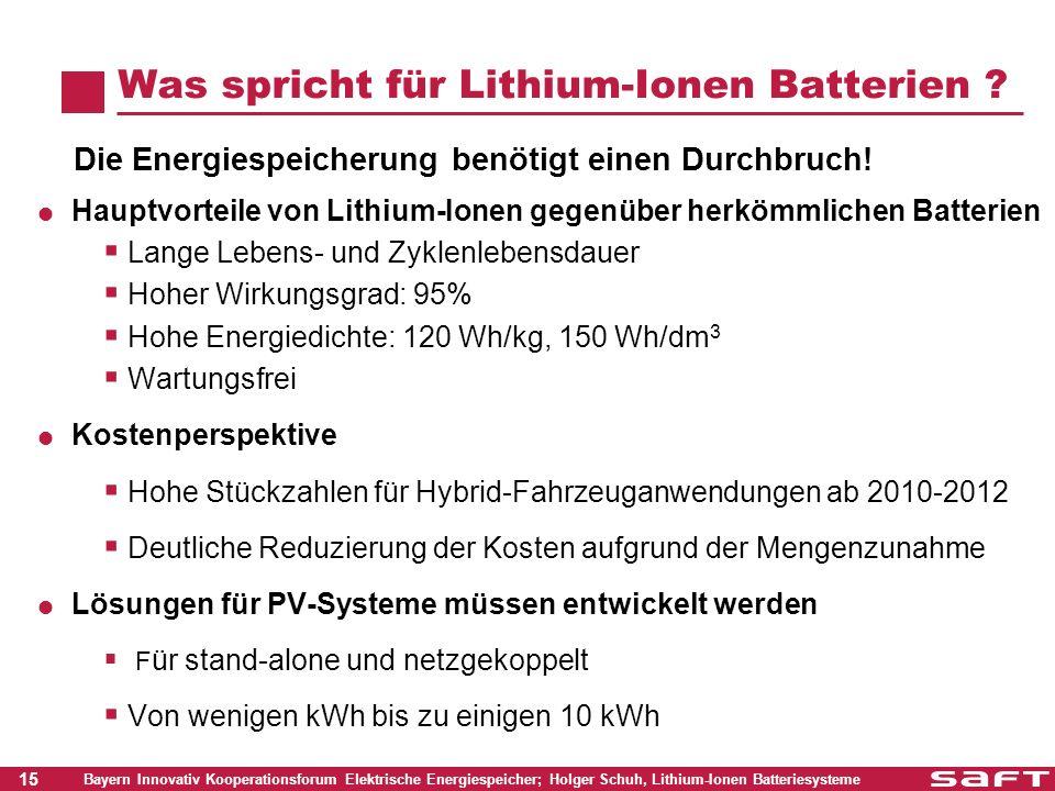 Was spricht für Lithium-Ionen Batterien