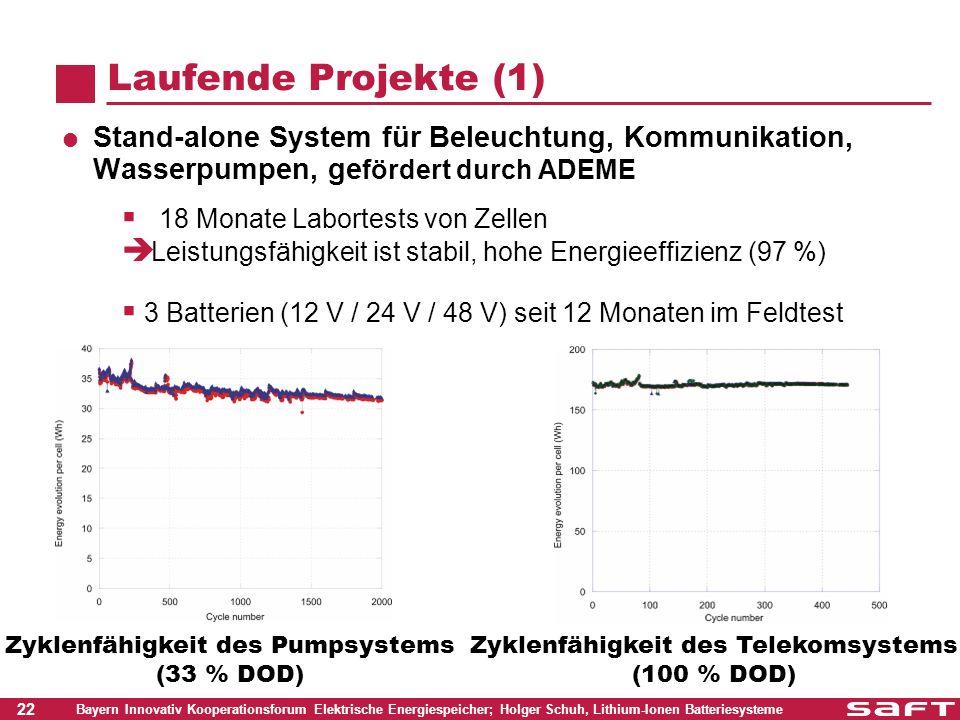 Laufende Projekte (1) Stand-alone System für Beleuchtung, Kommunikation, Wasserpumpen, gefördert durch ADEME.