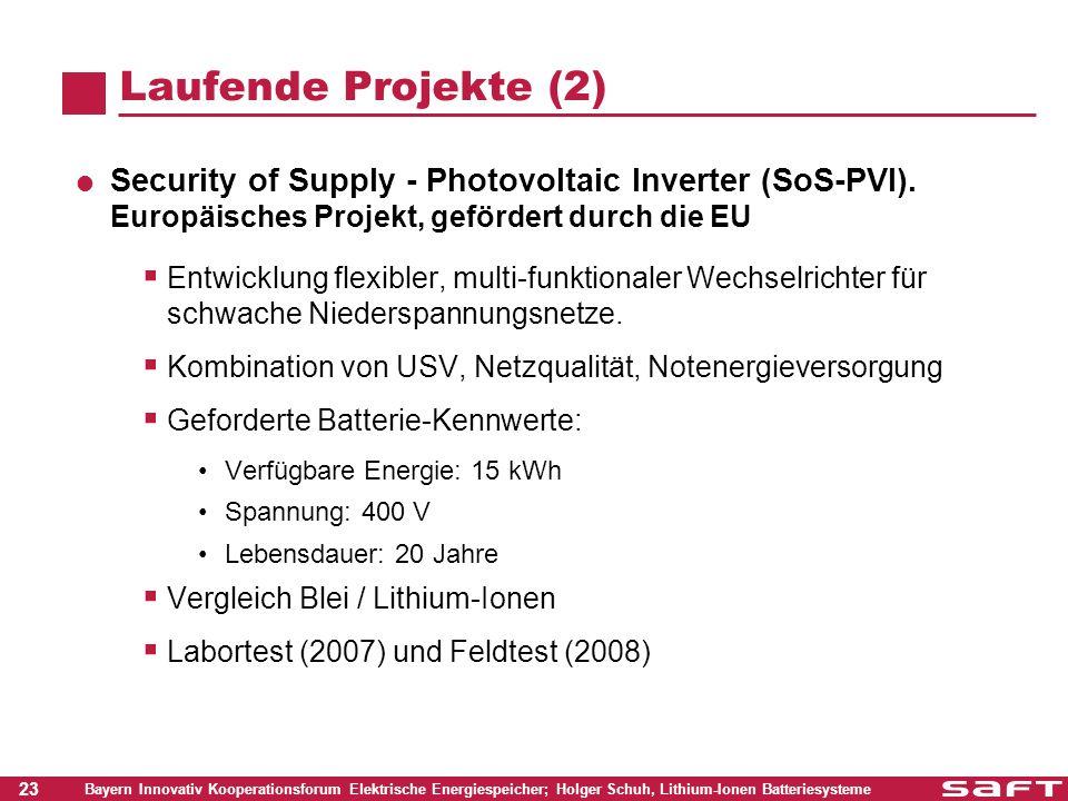 Laufende Projekte (2) Security of Supply - Photovoltaic Inverter (SoS-PVI). Europäisches Projekt, gefördert durch die EU.