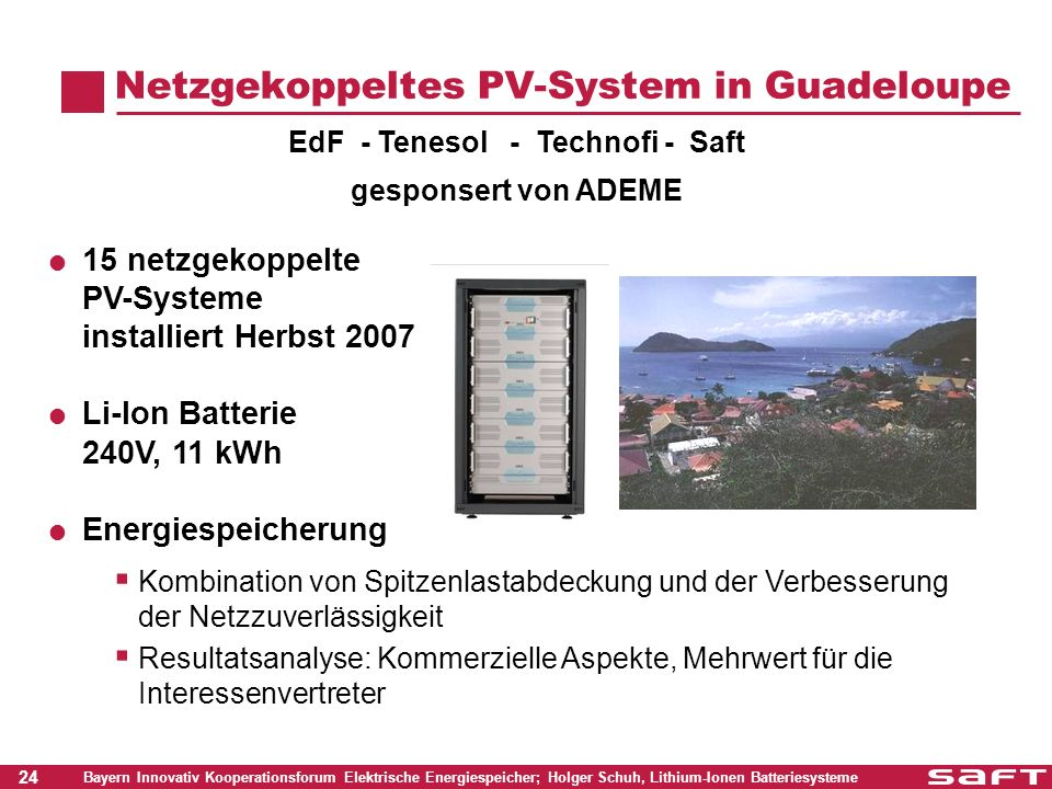 Netzgekoppeltes PV-System in Guadeloupe