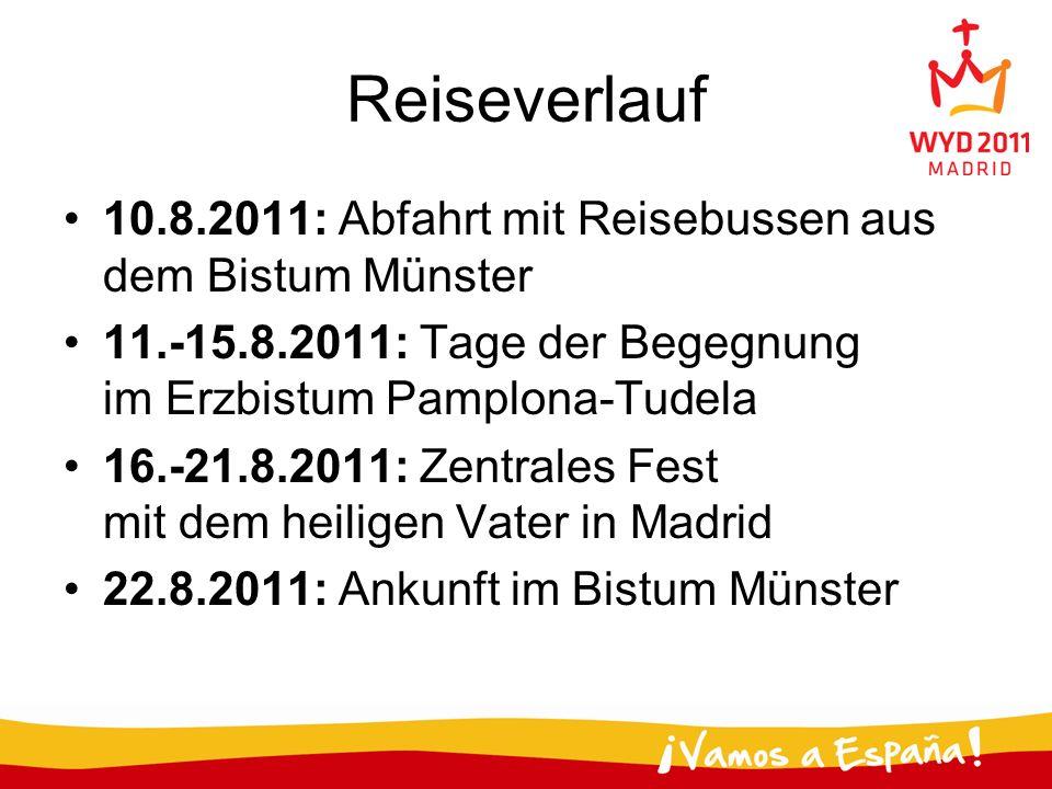 Reiseverlauf 10.8.2011: Abfahrt mit Reisebussen aus dem Bistum Münster