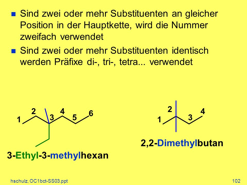 2,2-Dimethylbutan 3-Ethyl-3-methylhexan