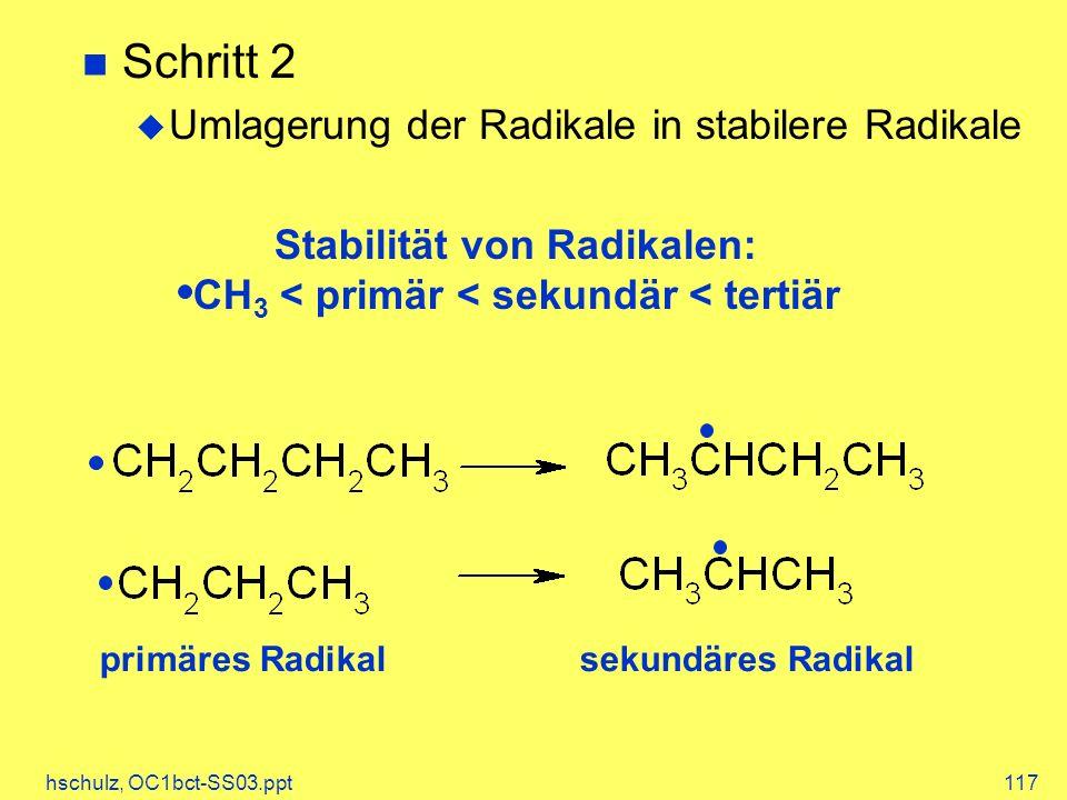 Stabilität von Radikalen: CH3 < primär < sekundär < tertiär