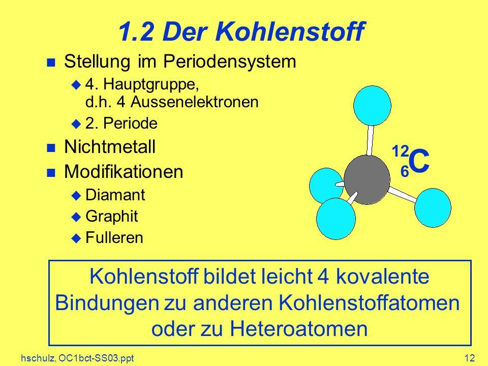1.2 Der Kohlenstoff Stellung im Periodensystem. 4. Hauptgruppe, d.h. 4 Aussenelektronen. 2. Periode.