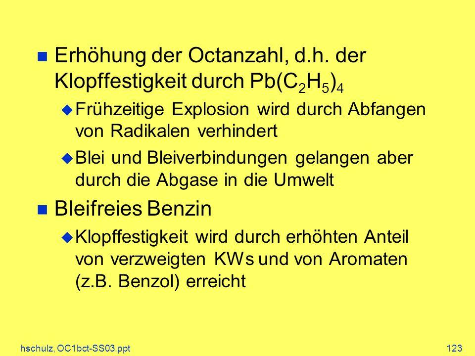 Erhöhung der Octanzahl, d.h. der Klopffestigkeit durch Pb(C2H5)4