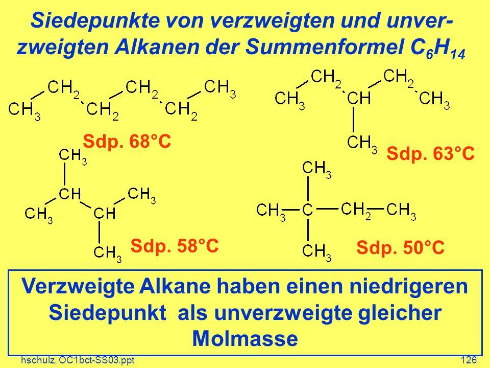 Siedepunkte von verzweigten und unver-zweigten Alkanen der Summenformel C6H14