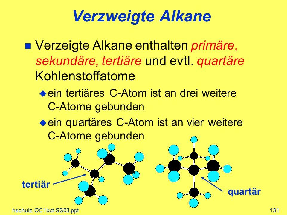 Verzweigte Alkane Verzeigte Alkane enthalten primäre, sekundäre, tertiäre und evtl. quartäre Kohlenstoffatome.