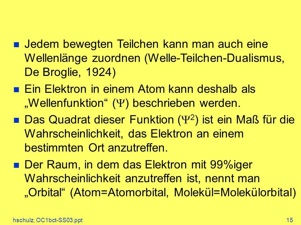 Jedem bewegten Teilchen kann man auch eine Wellenlänge zuordnen (Welle-Teilchen-Dualismus, De Broglie, 1924)