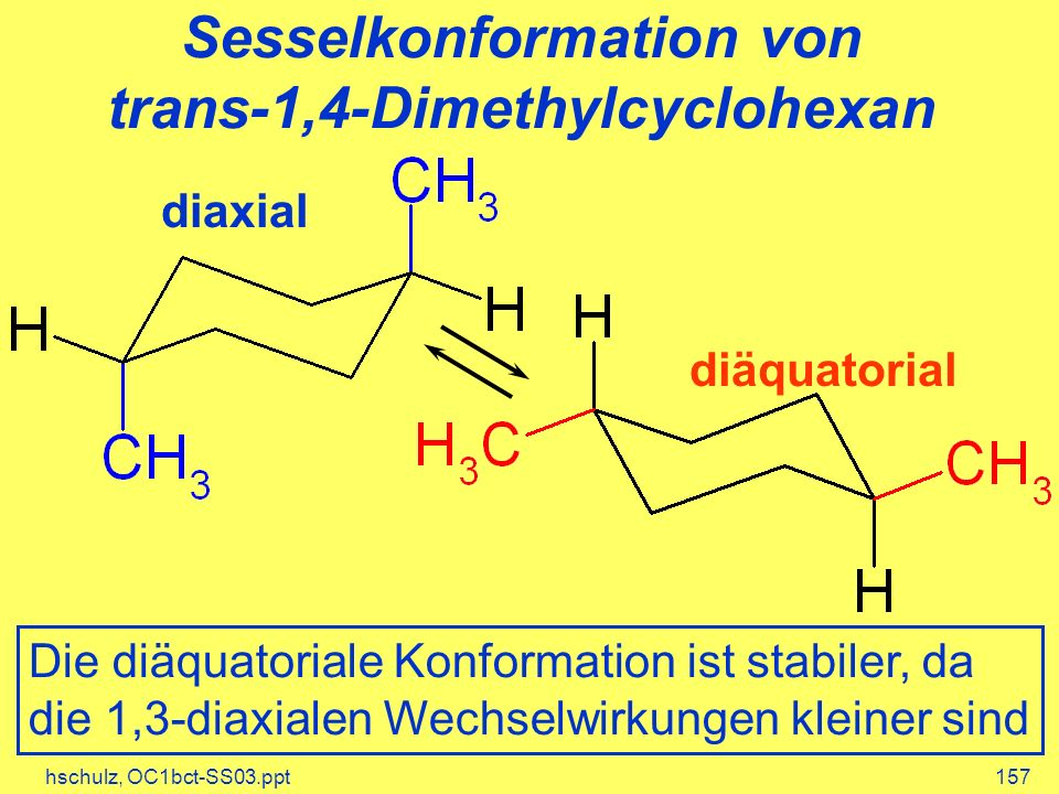 Sesselkonformation von trans-1,4-Dimethylcyclohexan