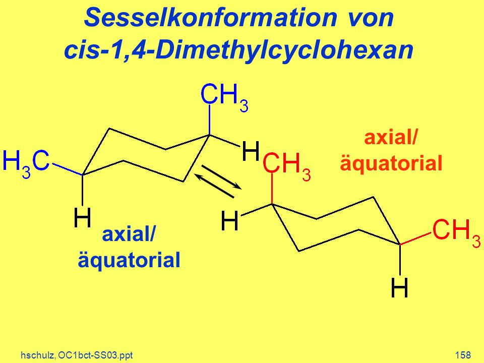 Sesselkonformation von cis-1,4-Dimethylcyclohexan