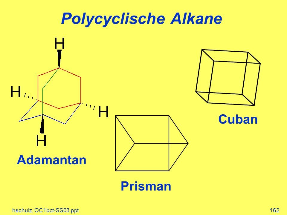 Polycyclische Alkane Cuban Adamantan Prisman hschulz, OC1bct-SS03.ppt