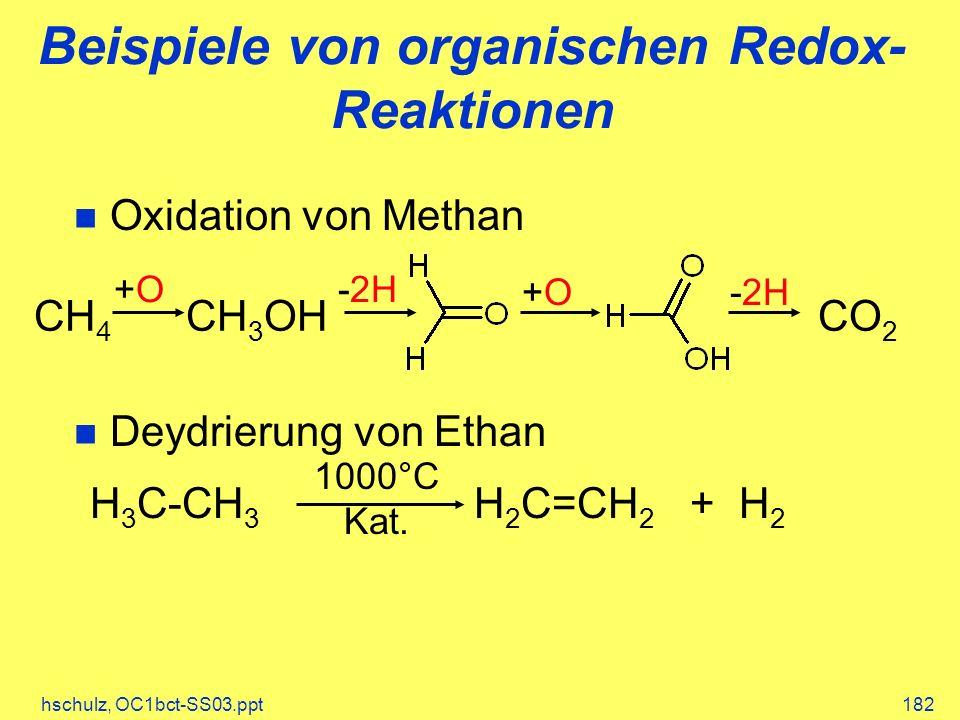 Beispiele von organischen Redox-Reaktionen