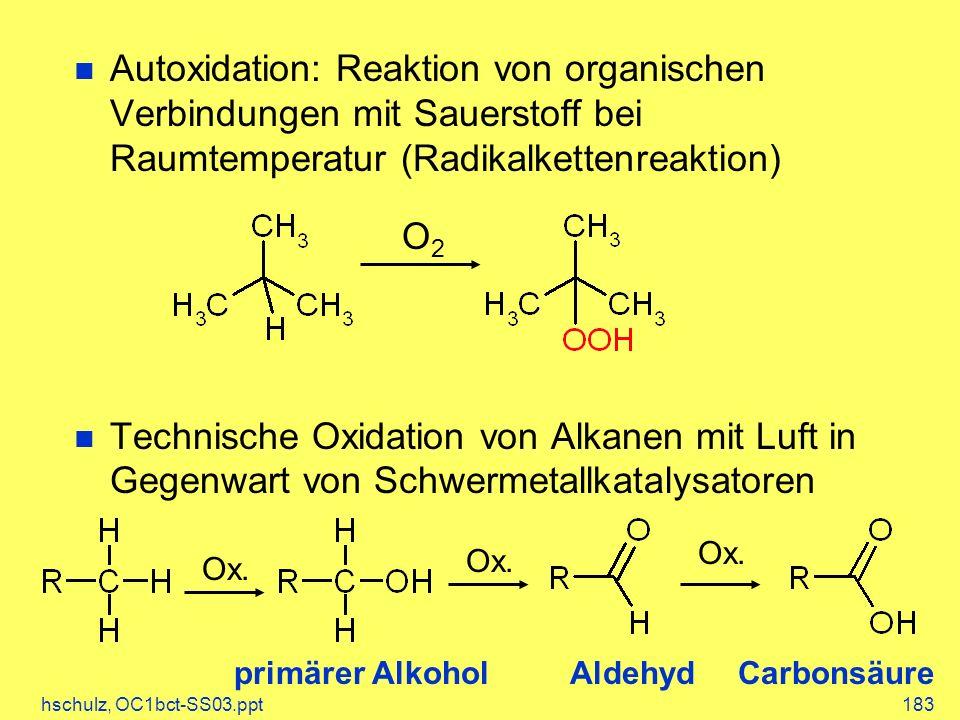 Autoxidation: Reaktion von organischen Verbindungen mit Sauerstoff bei Raumtemperatur (Radikalkettenreaktion)