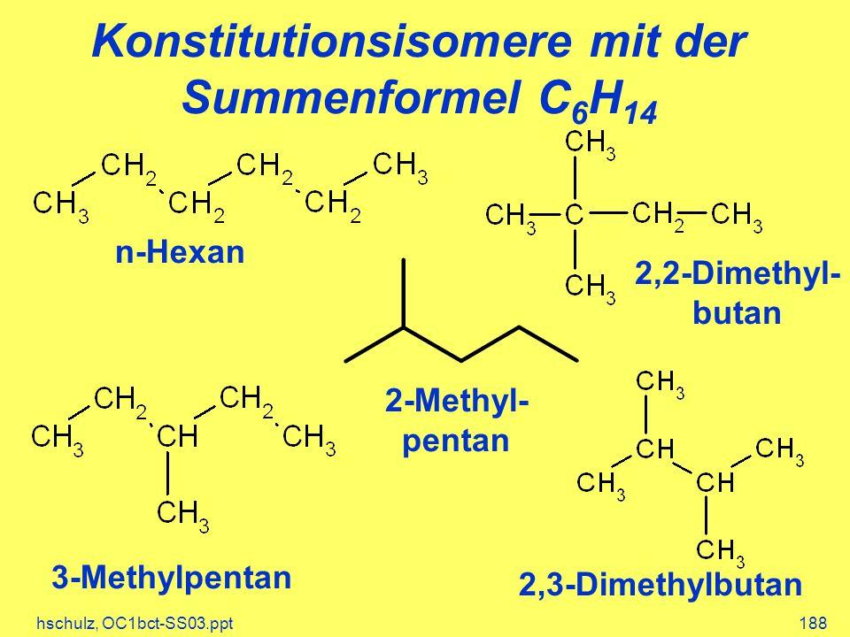 Konstitutionsisomere mit der Summenformel C6H14