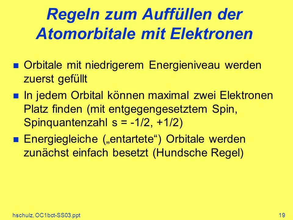 Regeln zum Auffüllen der Atomorbitale mit Elektronen