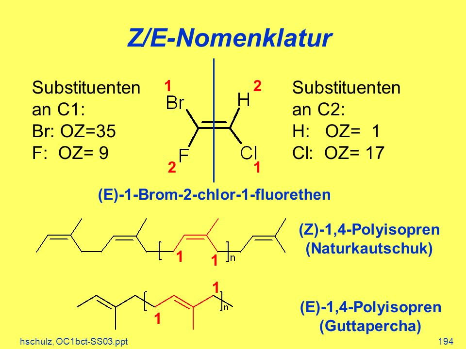 Z/E-Nomenklatur Substituenten an C1: Br: OZ=35 F: OZ= 9 Substituenten