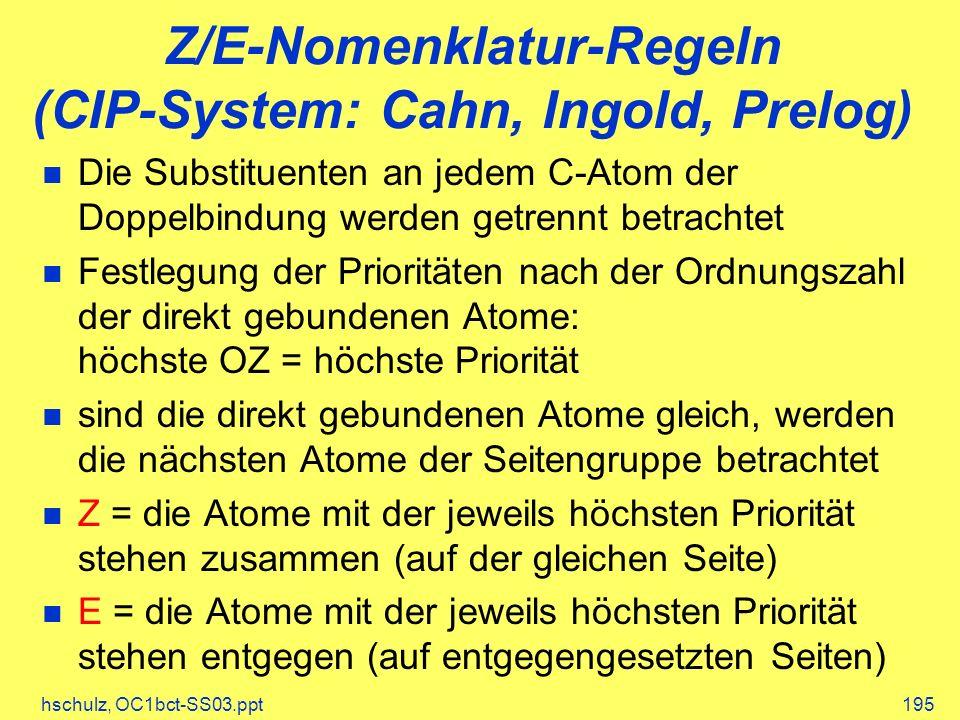 Z/E-Nomenklatur-Regeln (CIP-System: Cahn, Ingold, Prelog)