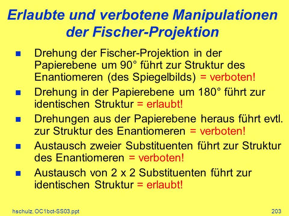 Erlaubte und verbotene Manipulationen der Fischer-Projektion