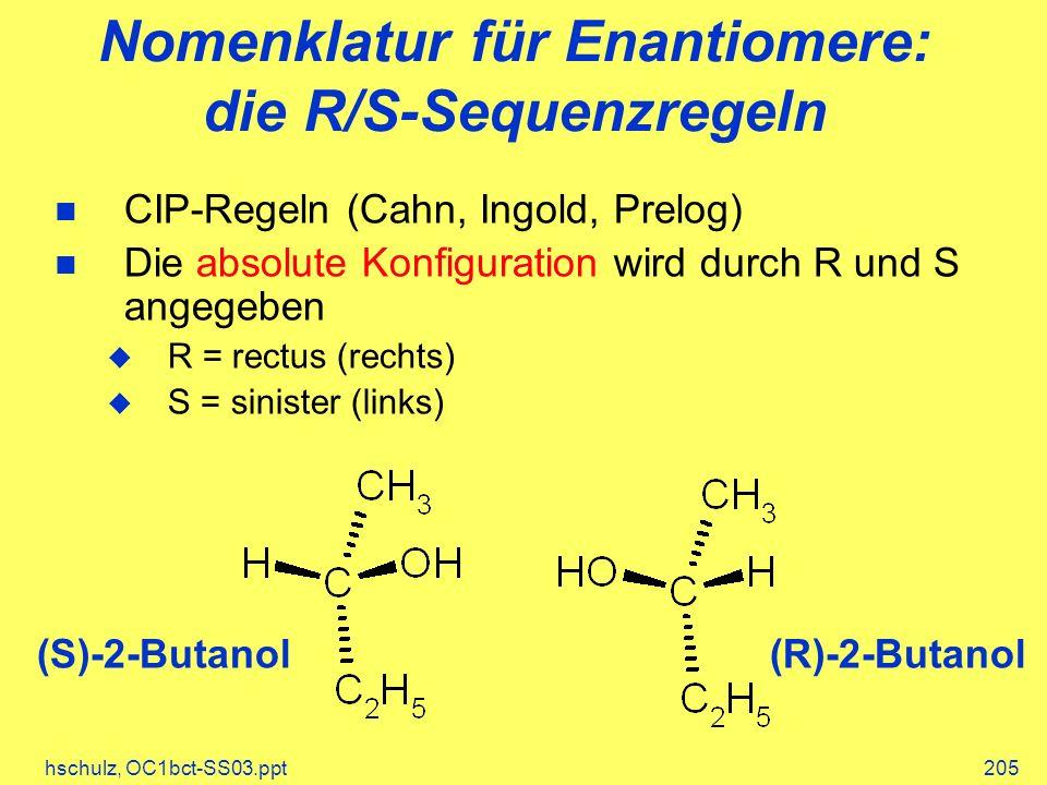 Nomenklatur für Enantiomere: die R/S-Sequenzregeln