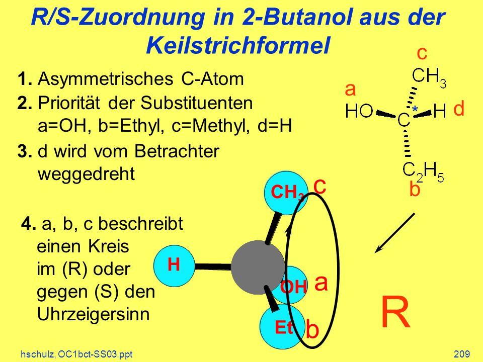 R/S-Zuordnung in 2-Butanol aus der Keilstrichformel