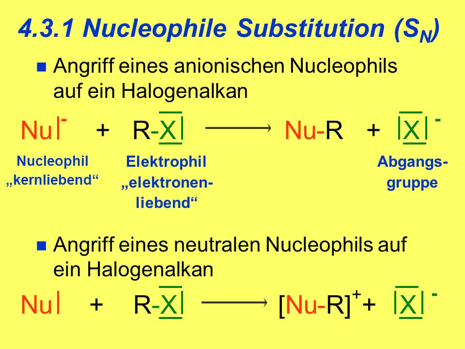 4.3.1 Nucleophile Substitution (SN)