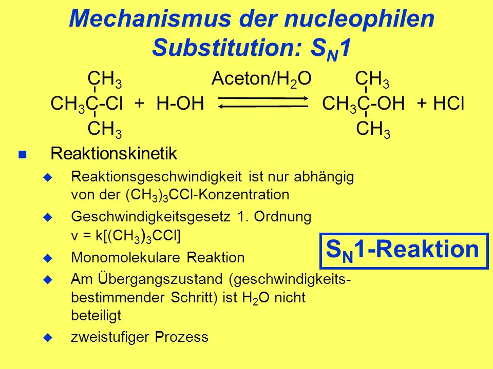 Mechanismus der nucleophilen Substitution: SN1