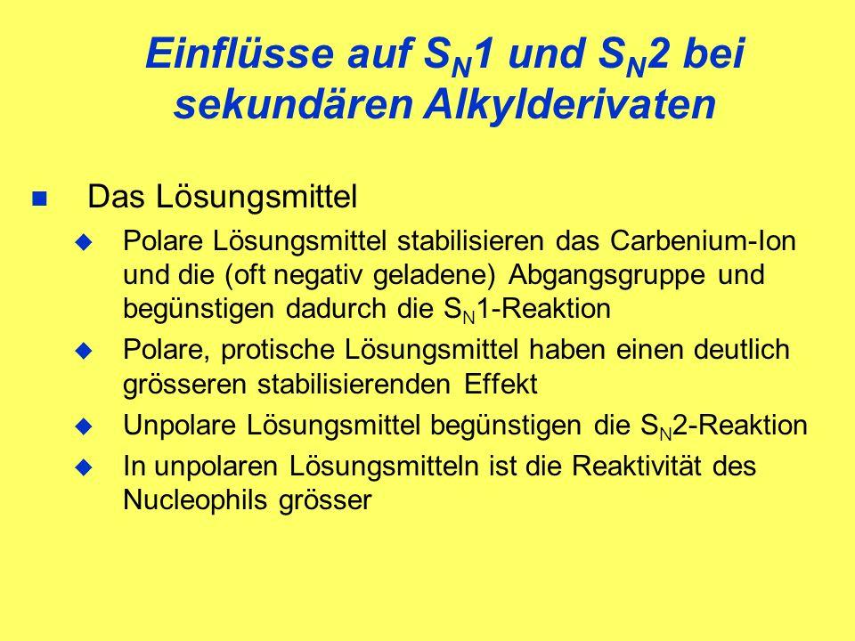 Einflüsse auf SN1 und SN2 bei sekundären Alkylderivaten