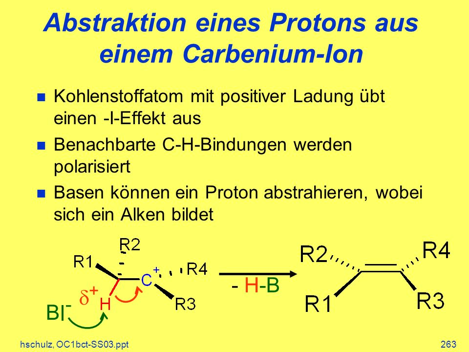 Abstraktion eines Protons aus einem Carbenium-Ion