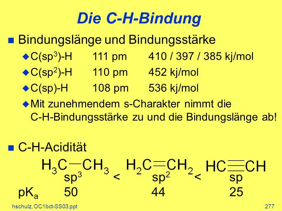 Die C-H-Bindung Bindungslänge und Bindungsstärke