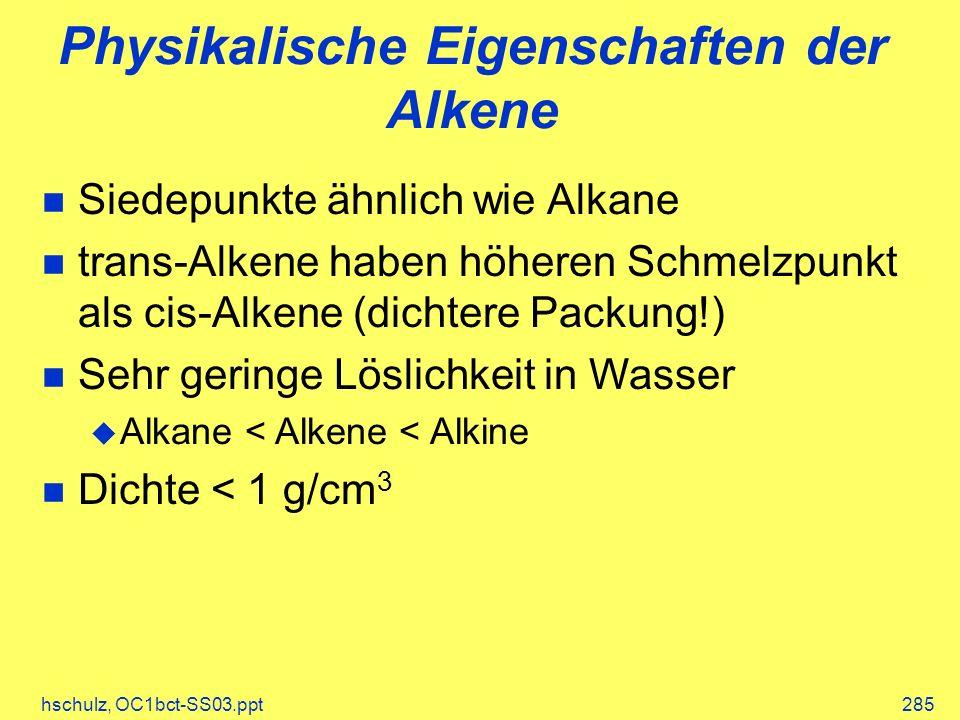 Physikalische Eigenschaften der Alkene