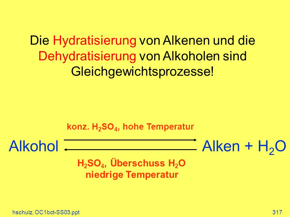Die Hydratisierung von Alkenen und die Dehydratisierung von Alkoholen sind Gleichgewichtsprozesse!