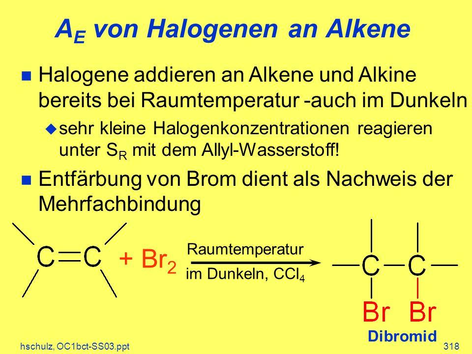 AE von Halogenen an Alkene