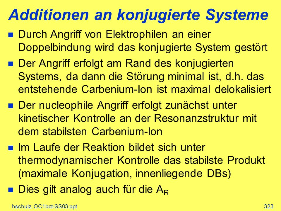 Additionen an konjugierte Systeme