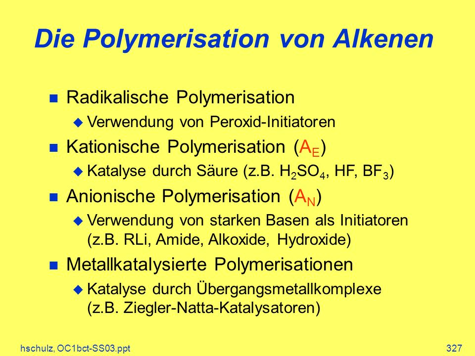 Die Polymerisation von Alkenen