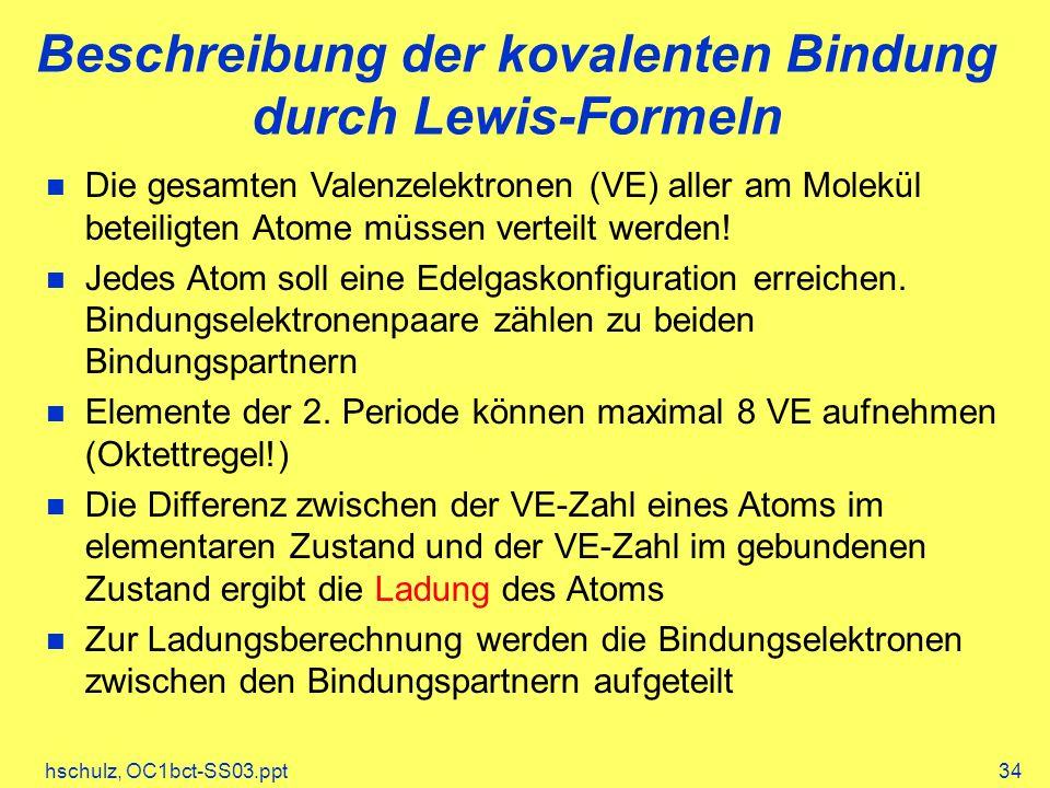 Beschreibung der kovalenten Bindung durch Lewis-Formeln