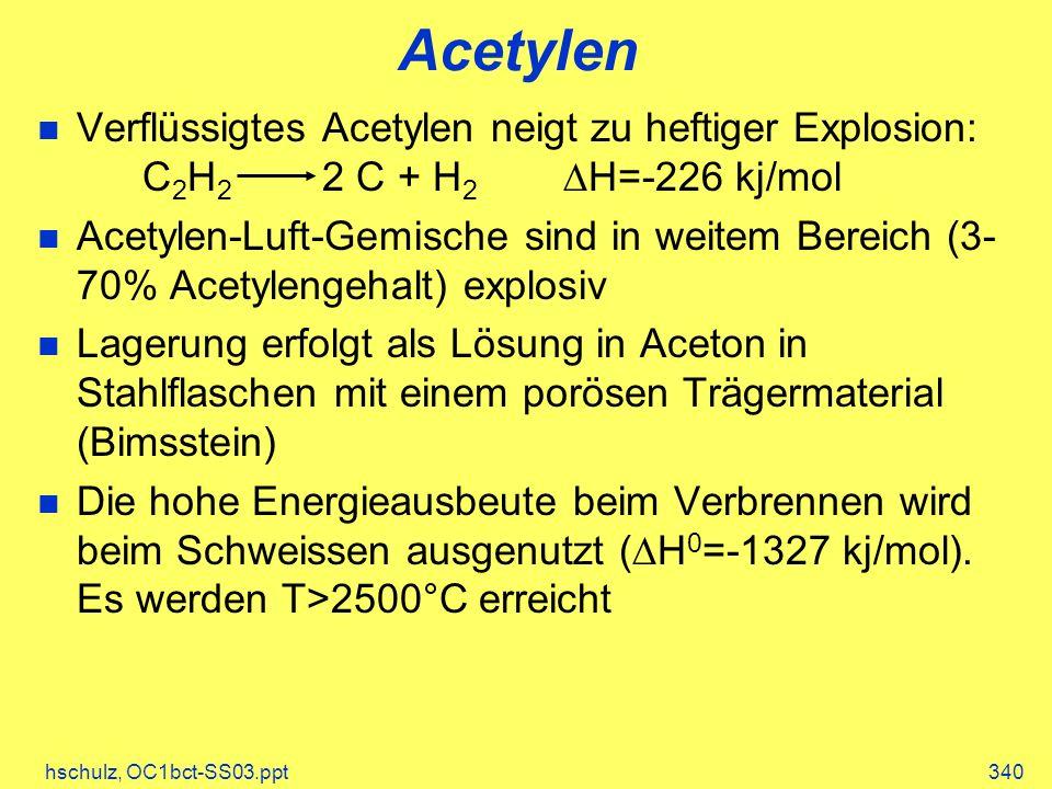 Acetylen Verflüssigtes Acetylen neigt zu heftiger Explosion: C2H2 2 C + H2 DH=-226 kj/mol.