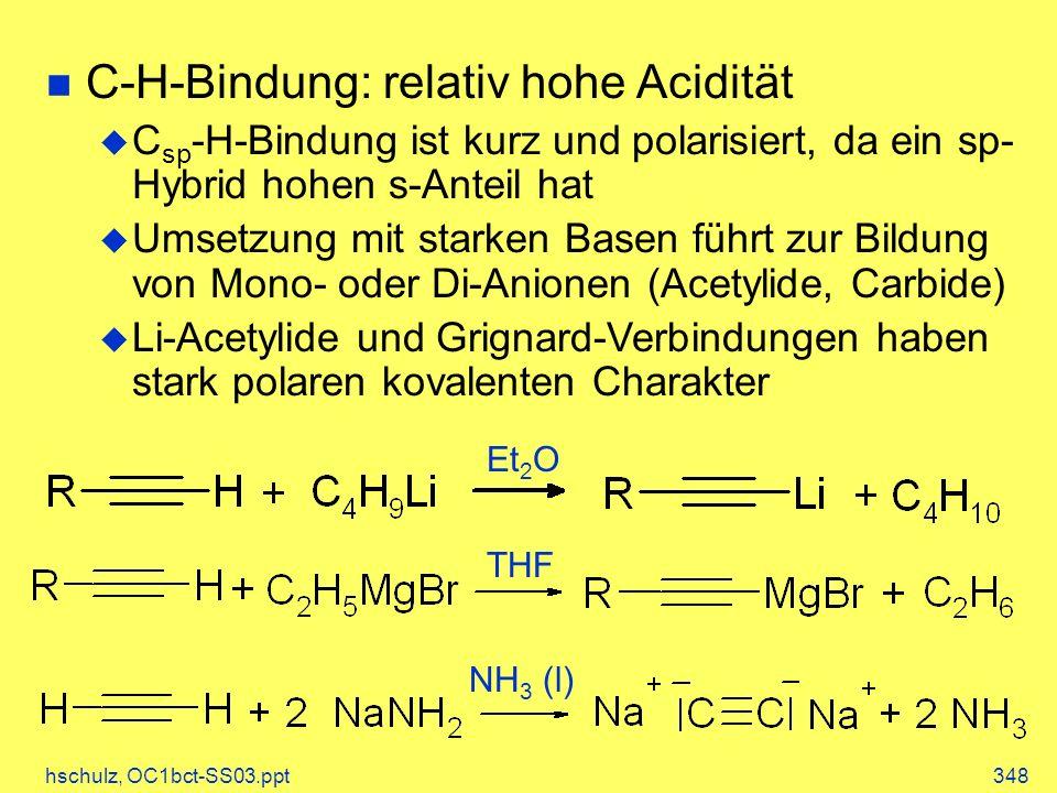 C-H-Bindung: relativ hohe Acidität
