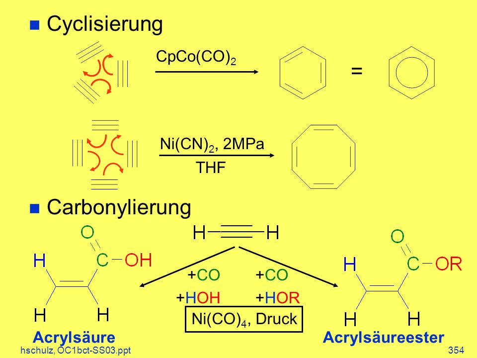 Cyclisierung = Carbonylierung CpCo(CO)2 Ni(CN)2, 2MPa THF +CO +HOH +CO