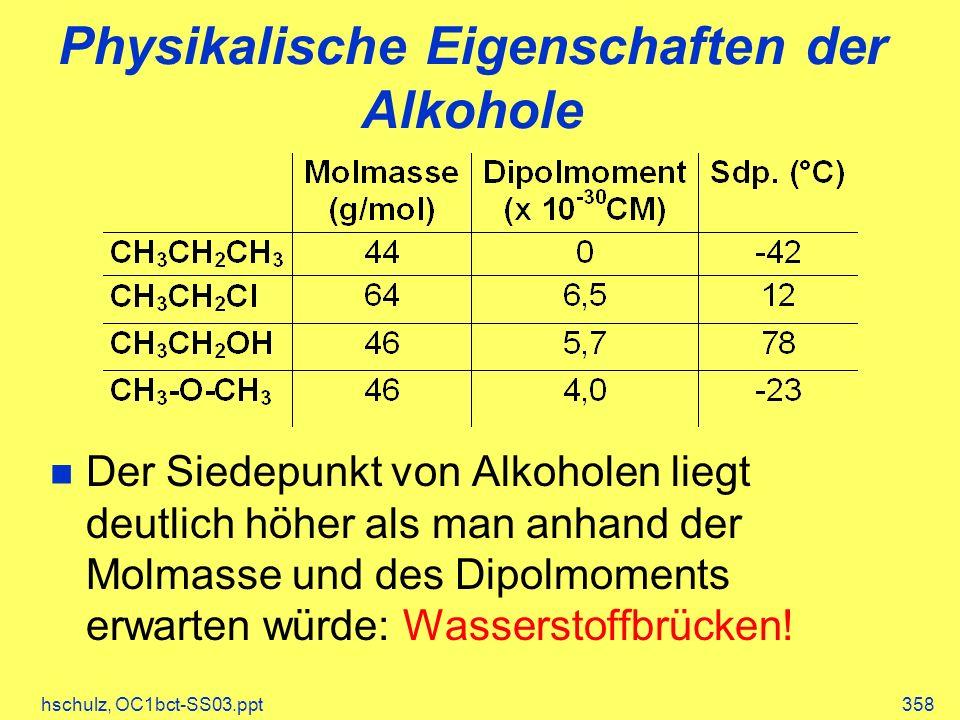 Physikalische Eigenschaften der Alkohole